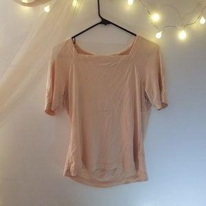 Vintage Peachy Pink Silk Square Neck Top